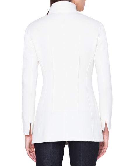 Cashmere Snap-Closure Slim Long Jacket