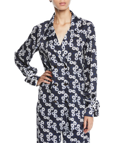235800d58bd Double-Breasted Floral-Print Shirt w  Tie Cuffs Quick Look. Lela Rose