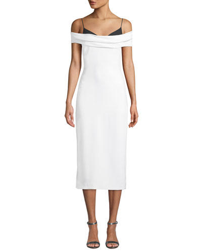 9fc1fff1551 Two-Tone Off-the-Shoulder Stretch-Cady Pencil Dress Quick Look. CUSHNIE
