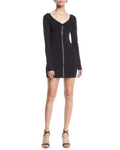 Long-Sleeve Zip-Front Knit Mini Dress