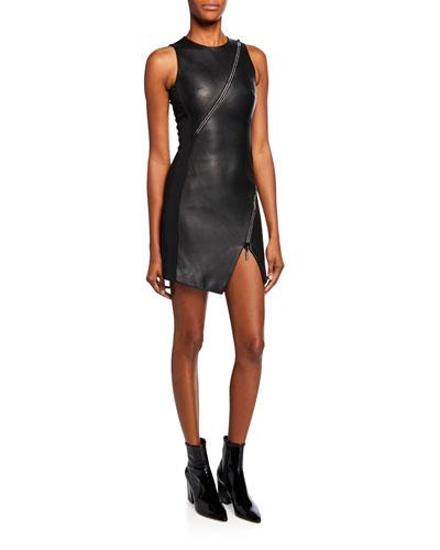 Leather Diagonal-Zip Mini Dress