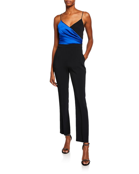 David Koma Colorblock Wrapped Satin Jumpsuit