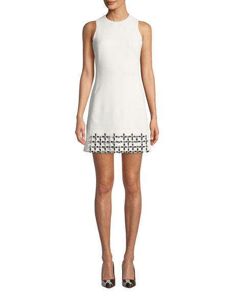 David Koma Sleeveless Crewneck Metallic-Embroidered Mini Dress