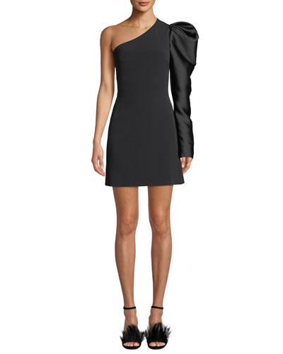 One-Shoulder Satin Puff-Sleeve Dress