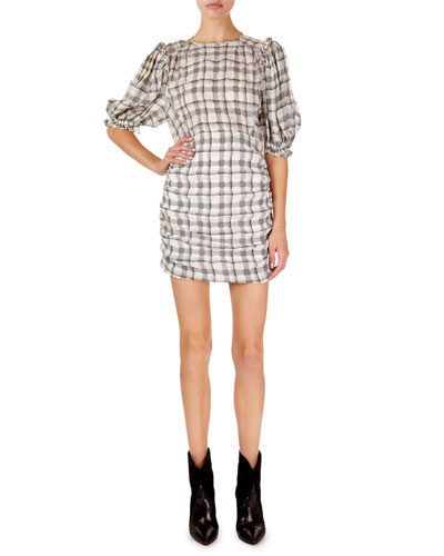 Adelaide Short-Sleeve Checked Organza Mini Dress