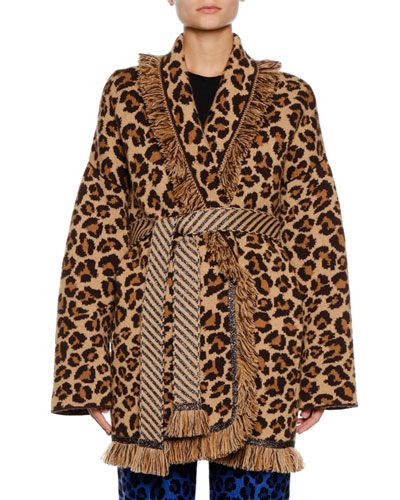 Self-Belt Leopard-Print Cashmere Cardigan w/ Metallic & Fringe Trim