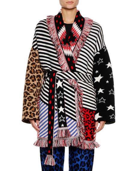 Crazy Stripe Cashmere-Blend Cardigan