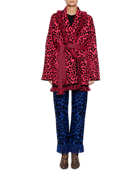 Animalier Self-Belt Leopard-Print Cashmere Cardigan w/ Metallic & Fringe Trim