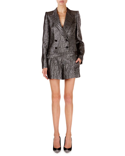 Derron Shimmer-Ribbed All-In-One Blazer Romper