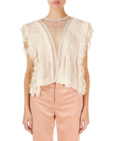 Isabel Marant Roya Sleeveless Lattice-Lace Neck Blouse