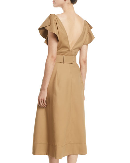 Deep-V Ruffle-Sleeve Belted Fit-and-Flare Cotton Twill Dress