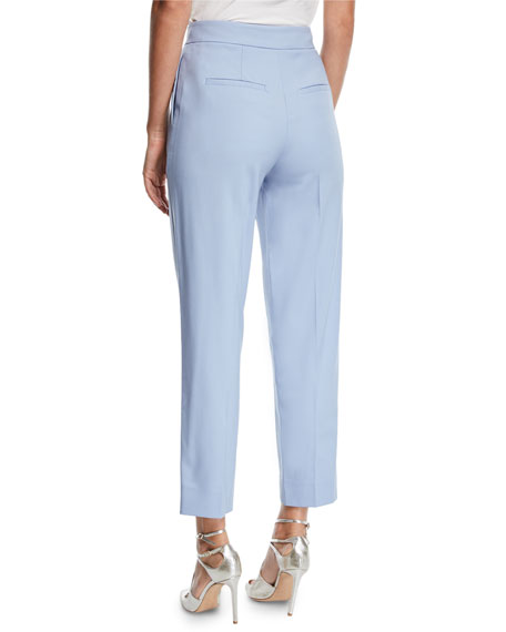 Straight-Leg Cropped Stretch-Wool Pants