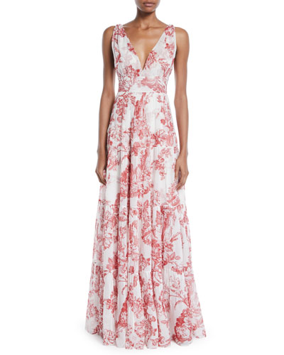V-Neck Sleeveless Toile-Print Silk A-Line Long Day Dress