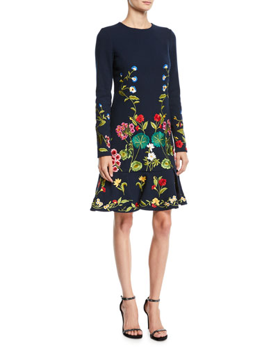 Long-Sleeve Floral-Embroidered Fit-and-Flare Knit Dress