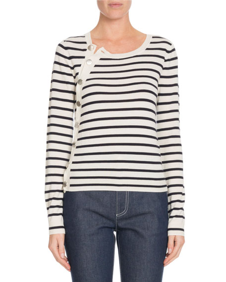 Altuzarra Button-Side Long-Sleeve Crewneck Striped Wool Sweater