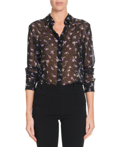 Sheer Floral-Print Silk Blouse