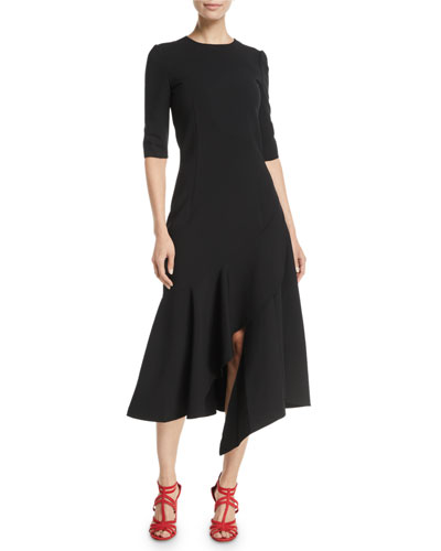 3/4-Sleeve Drop-Waist Fitted Asymmetric-Hem Midi Dress