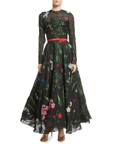 Long-Sleeve Belted Floral-Embroidered Fit-and-Flare Mesh Evening Gown