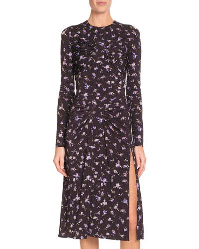 Long-Sleeve Side-Slit Floral-Print A-Line Midi Dress