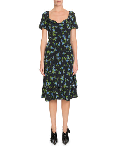 Scoop-Neck Cap-Sleeve A-Line Floral-Print Dress