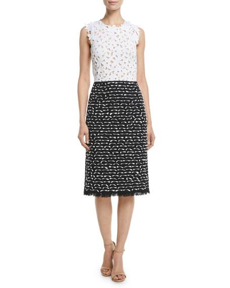 Floral-Lace Top & Ribbon-Tweed Skirt Midi Day Dress