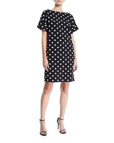 Bow-Back Polka-Dot Crepe Dress