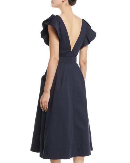 Deep-V Flutter-Sleeve Belted A-Line Cotton Twill Midi Dress
