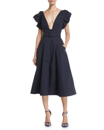 Deep-V Flutter-Sleeve Belted A-Line Cotton Twill Midi Dress