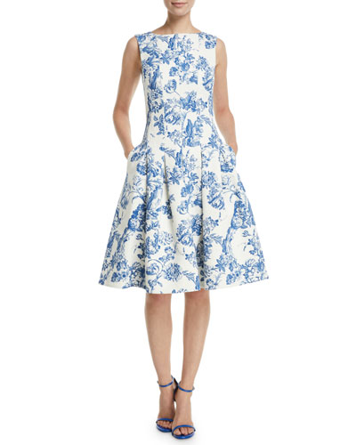 Sleeveless Fit-and-Flare Toile Knee-Length Day Dress