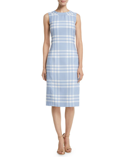 Sleeveless High-Neck Plaid Wool Sheath Midi Dress