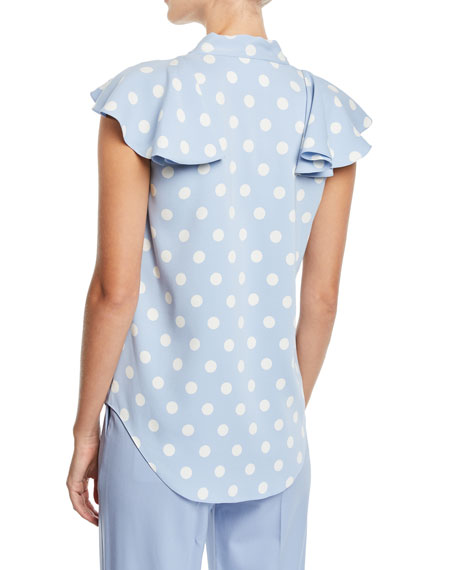 Tie-Neck Flutter Cap-Sleeves Polka-Dot Silk Blouse