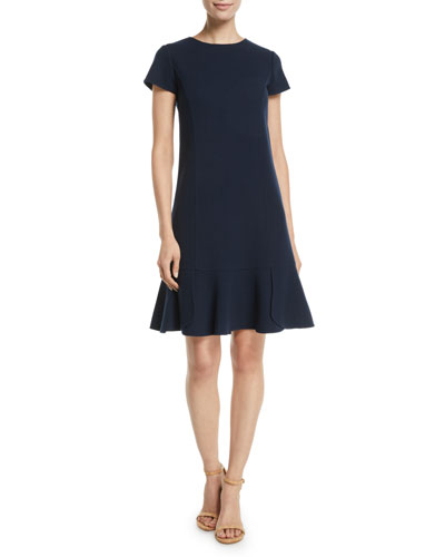 Short-Sleeve Wool-Blend Shift Dress w/ Side Pleats