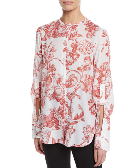 Oscar De La Renta LONG-SLEEVE TOILE-PRINT COTTON BLOUSE