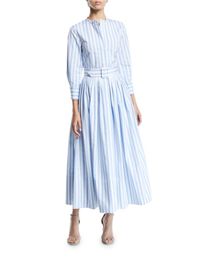 3/4-Sleeve Striped Shirt Dress