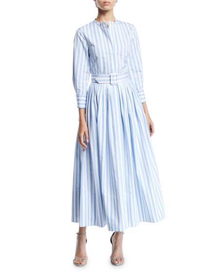 Oscar De La Renta 34 Sleeve Striped Shirt Dress