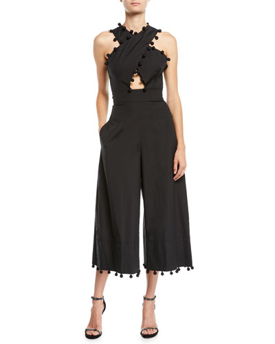Pompom Crisscross Wide-Leg Cropped Jumpsuit