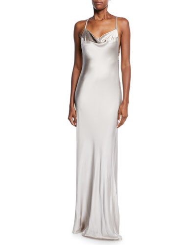 Sleeveless Shimmer-Satin Asymmetric-Back Gown