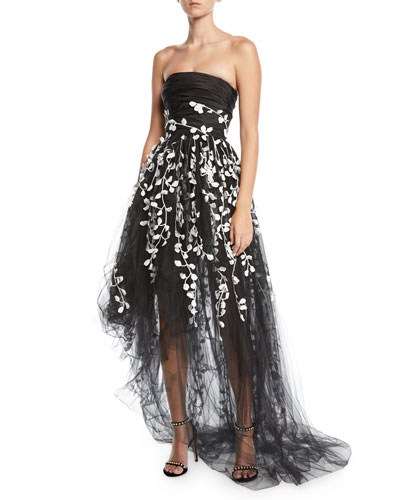 Strapless Floral-Embroidered High-Low Tulle Evening Gown