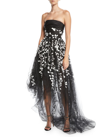 Oscar De La Renta Strapless Floral Embroidered High Low Tulle