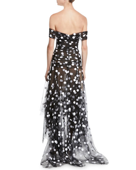Off-the-Shoulder Polka-Dot Tulle Evening Gown