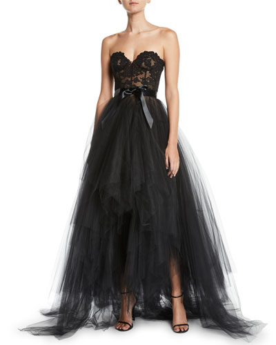Bustier-Bodice Ribbon-Waist Tiered Tulle Evening Gown
