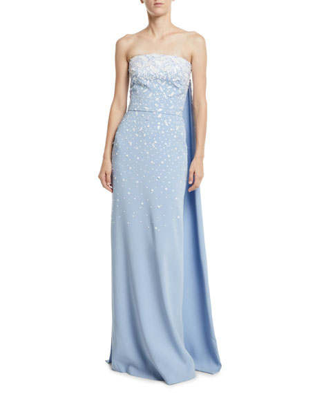 Oscar De La Renta Strapless Embroidered Silk Georgette Evening Gown