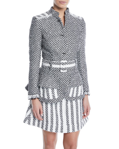 Oscar De La Renta BELTED HERRINGBONE TWEED JACKET