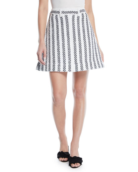 Oscar De La Renta A-LINE STRIPED TWEED SKIRT
