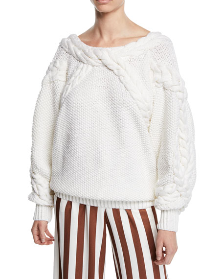 51363f4d959b Tanya Taylor Marie Cable-Knit Off-Shoulder Sweater
