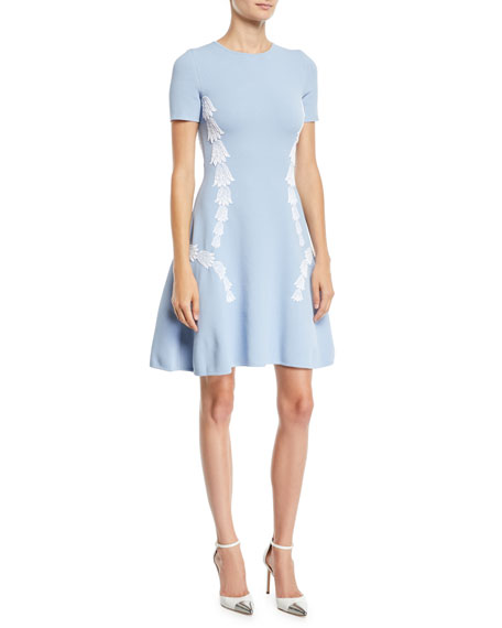 Oscar De La Renta SHORT-SLEEVE TULIP-EMBROIDERED FIT-AND-FLARE DRESS