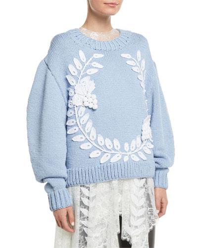 Grape-Garland Crewneck Wool-Cashmere Hand-Knit Sweater