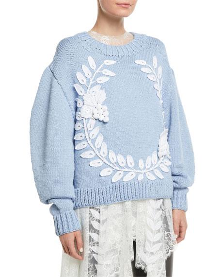 Oscar de la Renta Grape-Garland Crewneck Wool-Cashmere Hand-Knit