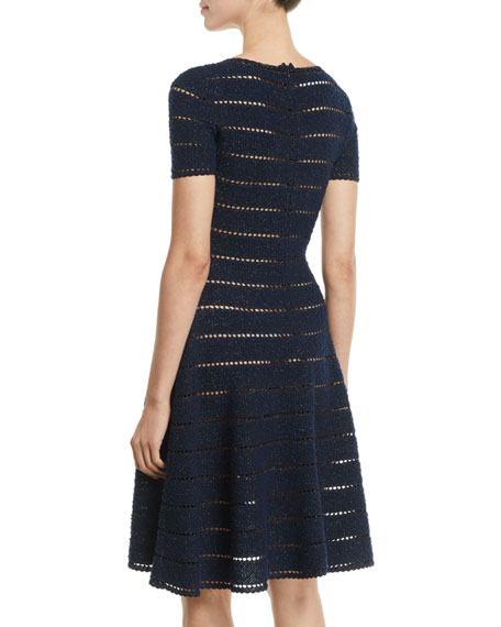 Short-Sleeve Pointelle Metallic-Knit Fit-and-Flare Dress