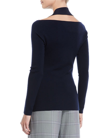 Holster-Neck Long-Sleeve Fine Merino Sweater